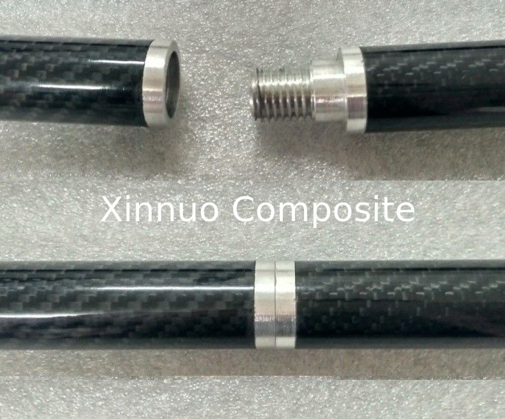 Aluminum joint connect 3K twill carbon fiber tube tubing tubes with aluminum thread for wire and cable protection sleeve