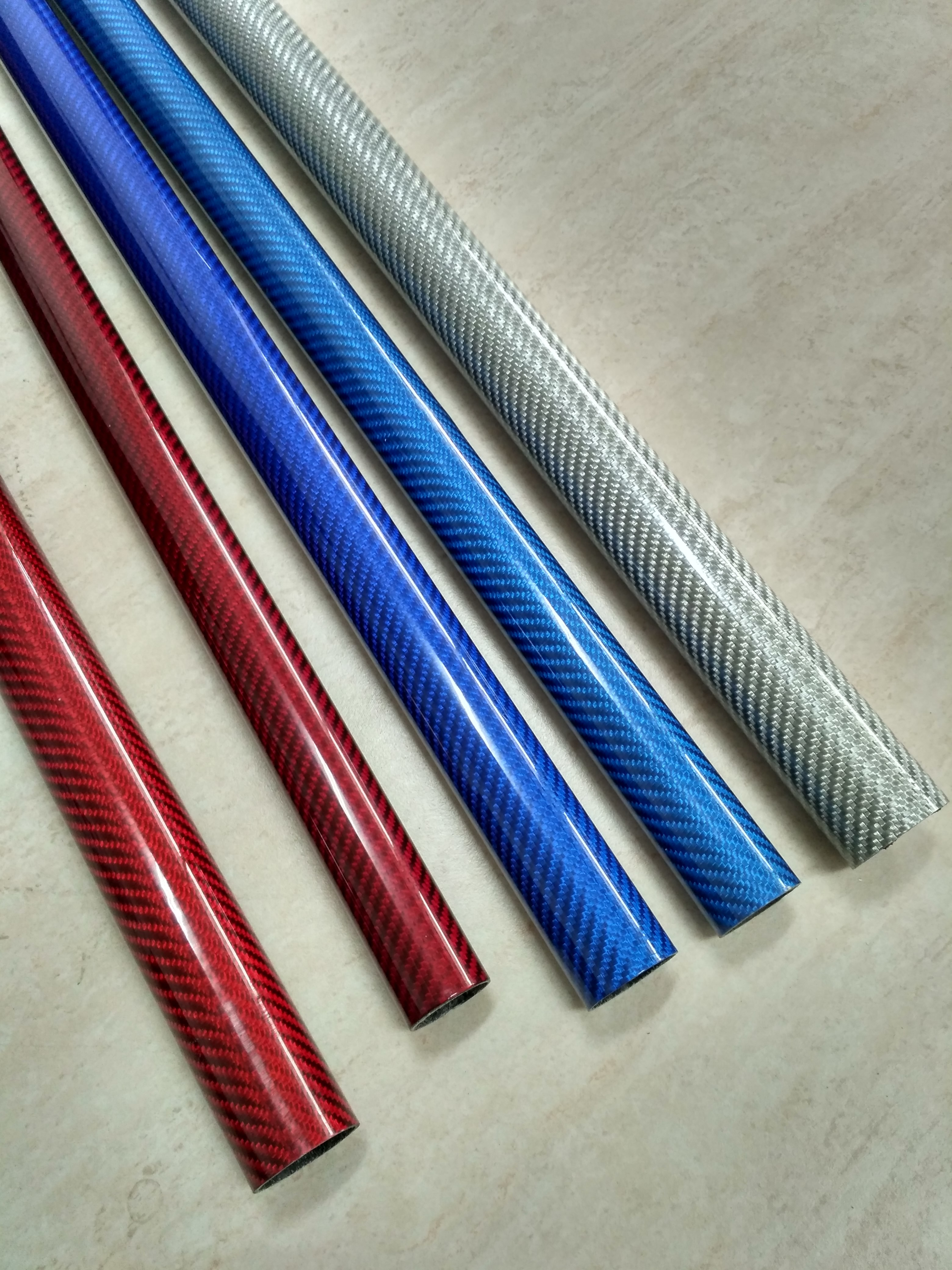 colorful glass fiber mixed carbon fiber pipe/tube for Decorating